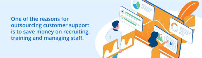 The reasons for outsourcing customer support is to save money on recruiting, training and managing stuff